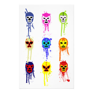 Lucha Libre Mask Mexican Wrestling Paint Drip Stationery