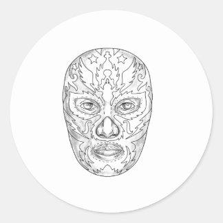 Lucha Libre Mask Tattoo Classic Round Sticker