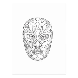 Lucha Libre Mask Tattoo Postcard