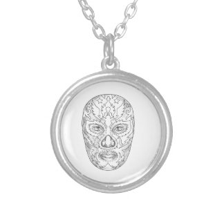 Lucha Libre Mask Tattoo Silver Plated Necklace