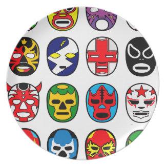 Lucha Libre Mask wrestler Mexican Wrestling Melamine Plate