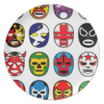 Lucha Libre Mask wrestler Mexican Wrestling Party Plates