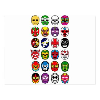Lucha Libre Mask wrestler Mexican Wrestling Postcard