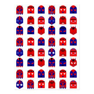 lucha libre masks postcard