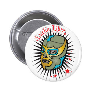 Lucha Libre Mexican Wrestling Mask Button