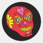 Lucha Libre Sugar Skull Round Stickers