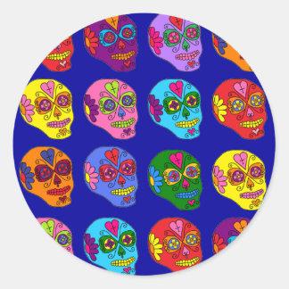 Lucha Libre Sugar Skulls Classic Round Sticker
