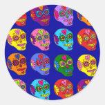 Lucha Libre Sugar Skulls Round Sticker