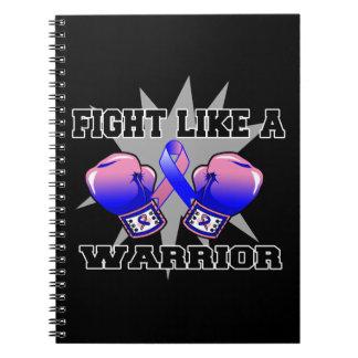 Lucha masculina del cáncer de pecho como un guerre libretas