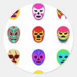 Lucha mexicana de la máscara de Lucha Libre Pegatinas Redondas