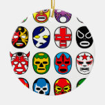 Lucha mexicana del luchador de la máscara de Lucha Adorno Navideño Redondo De Cerámica