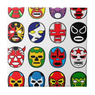 Lucha mexicana del luchador de la máscara de Lucha Azulejo Cuadrado Pequeño