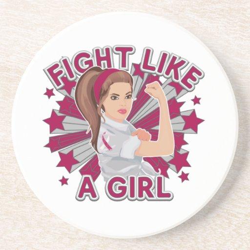 Lucha moderna de Rosie del cáncer de cabeza y cuel Posavasos Personalizados