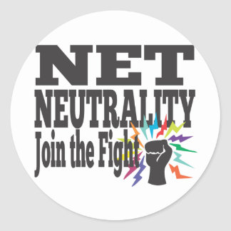 Lucha neta de la neutralidad pegatina redonda