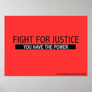 Lucha para el poster de la justicia póster
