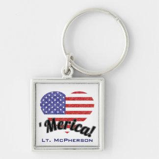 ¡Lucha para 'Merica! Bandera patriótica de los E.E Llavero Cuadrado Plateado