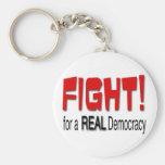 Lucha para una democracia real llavero personalizado
