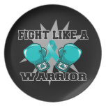 Lucha peritoneal del cáncer como un guerrero plato