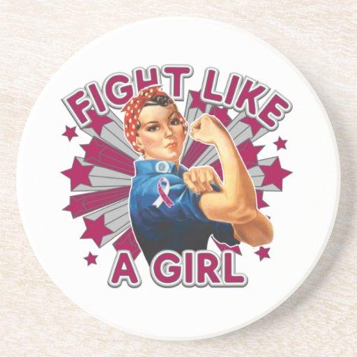Lucha principal de Rosie del vintage del cáncer de Posavasos Diseño