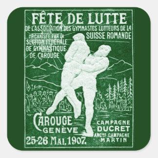 Lucha suiza 1907 pegatina cuadrada