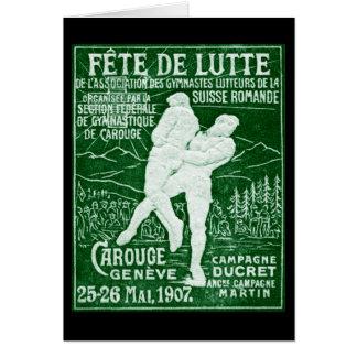 Lucha suiza 1907 tarjeta de felicitación