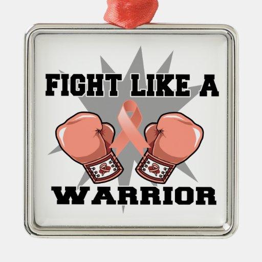 Lucha uterina del cáncer como un guerrero adornos de navidad