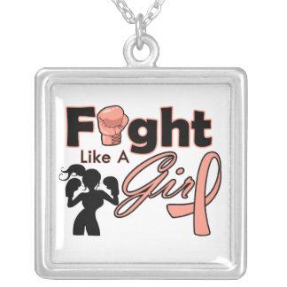 Lucha uterina del cáncer como una silueta del chic colgante