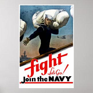 Lucha -- Vayamos se unen a a la marina de guerra Posters