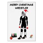 Luchador de las Felices Navidad Tarjetón