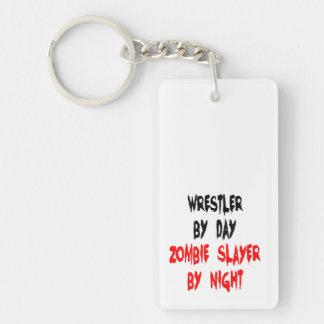 Luchador del asesino del zombi llavero rectangular acrílico a doble cara