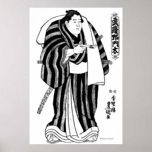Luchador Musashi del sumo ningún Monta Litho Posters