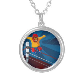 luchador silver plated necklace