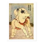 Luchadores del sumo de Hokusai Tarjeta Postal