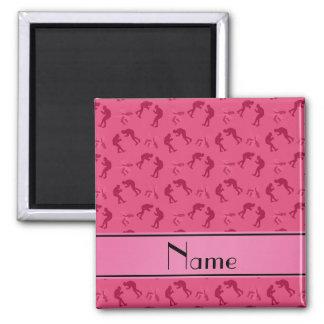 Luchadores rosados conocidos personalizados imán cuadrado