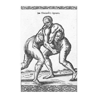 Luchadores turcos impresión en lienzo