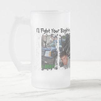 Lucharé su vidrio de cerveza del novio taza cristal mate