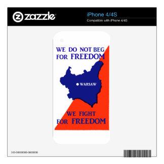 Luchas de WWII Polonia para la libertad Calcomanía Para El iPhone 4