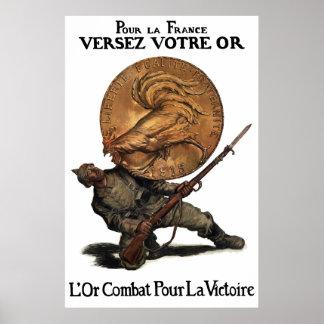 Luchas del oro para la victoria -- WW1 francés Impresiones