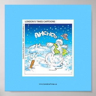 Luchas escarchadas el poster divertido del navidad