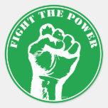 Luche el poder pegatina redonda