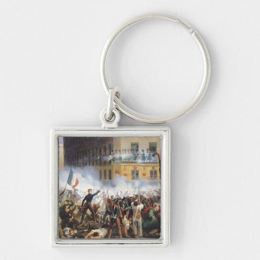 Luche en la ruda de Rohan, el 28 de julio de 1830, Llavero Cuadrado Plateado