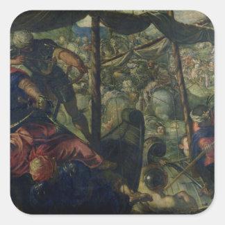 Luche entre los turcos y los cristianos, c.1588/89 pegatina cuadrada