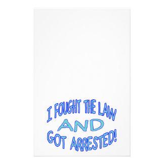 Luché la ley y conseguí arrestado papelería personalizada