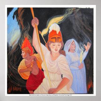 Luche la oscuridad: Apolo, Athena, Persephone Póster