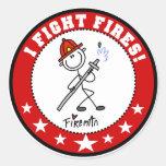 Lucho al bombero de los fuegos pegatina redonda