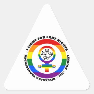 Lucho para las derechas de LGBT Pegatina Triangular