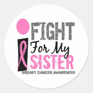 Lucho para mi cáncer de pecho de la hermana pegatina redonda
