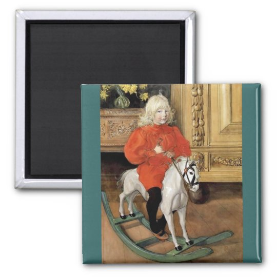 """""""Lucia Day!"""" Boy on a Rocking Horse Magnet"""