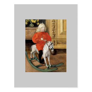 """Lucia Day!"" Boy on a Rocking Horse Postcard"
