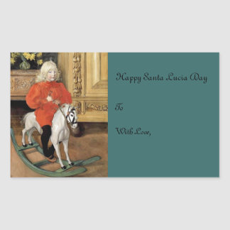 """Lucia Day!"" Boy on a Rocking Horse Rectangular Sticker"